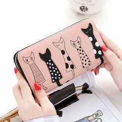 Linda Long Cat Billetera Bolso Gatito Animal Bolsos de embrague