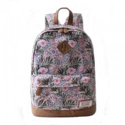 Las nuevas hojas florales frescas imprimieron el bolso de escuela del morral del recorrido