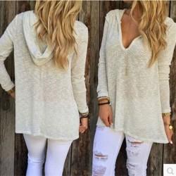 Cuello en V profundo, cómodo, cómodo, con capucha, punto, camiseta, suéter
