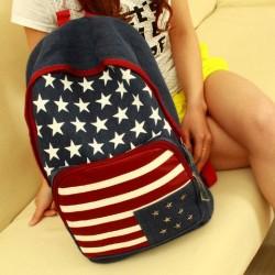 Bandera americana remache de la manera mochila de lona