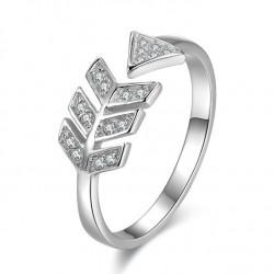 Dulce Amor Flecha Plata anillo Diamante Pluma Plata Abierto anillo