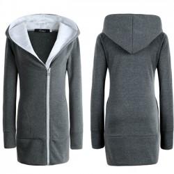 Abrigo largo de invierno con cremallera caliente de las mujeres de la moda Abrigo delgado con capucha de abrigo exterior de la chaqueta espesa capa de la chaqueta de algodón acolchado