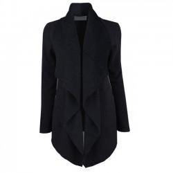 Nueva chaqueta de la parte superior delantera abierta solapa abrigo largo