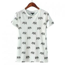 Camiseta con estampado de elefante de algodón de manga corta