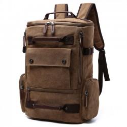 Mochila de color retro lavado Mochila de viaje al aire libre mochila de gran tamaño de la cremallera de la lona del niño de gran capacidad