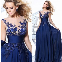 Vestidos de baile largo de encaje de las mujeres de la moda Ver a través de la flor vestido de noche