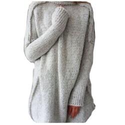 Suéter de cuello alto de cuello alto de la moda ahueca hacia fuera anti que hace punto