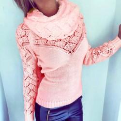 Suéter ahuecado del collar de los montones del color entero de las mujeres de la moda