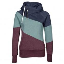 Contraste de las mujeres Color costura sudadera con capucha suéter jersey de lana de cachemira deportes abrigo