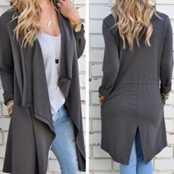 Gran cuello de manga larga irregular chaqueta de punto suéter