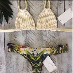 Traje de baño de gasa blanco Traje de baño de bikini sexy Halter Bikini