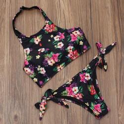 Conjunto de bikini de moda negro halter Sexy Straps Halter Split de mujer