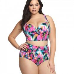 Traje de baño de cintura alta sexy Gran tamaño de bikini de mujer colorido enrejado
