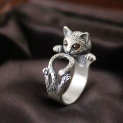 Vendimia rojo Ojos Suerte Gato Abierto 925 Plata anillo