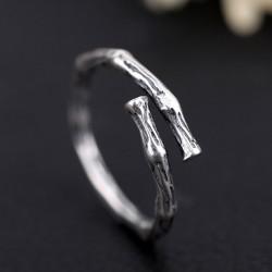 Anillos de plata vintage para mujer Anillo abierto de rama retro