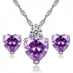 Brillante sincero amor corazón Crystal Zircon collar pendiente Studs Set