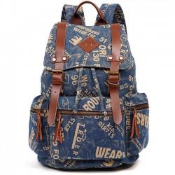 Retro Mochilas al aire libre que sube la mochila Mochila grande de la escuela de la lona del cinturón de la PU