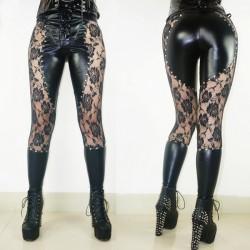 Sexy Girl See Through Remaches de encaje de imitación de cuero negro Leggings góticos punk