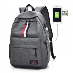 Ocio Rojo Blanco Negro Raya Interfaz USB Bolsa de viaje grande Bolsa de estudiante Mochila de lona