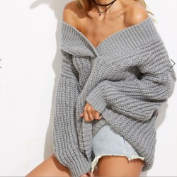 Moda primavera / otoño engrosamiento cuello en V Wild Boat Neck vestido de suéter de color completo