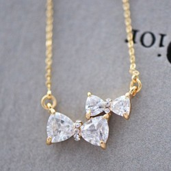 Cute Two Bowknot Rhinestone Pendant Necklace