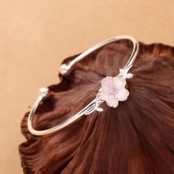 Pulsera abierta linda de las flores del presente del día de San Valentín Hojas pulsera de plata cereza