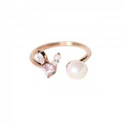 Lindo anillo abierto de cristal con perlas de conejo de plata para mujer