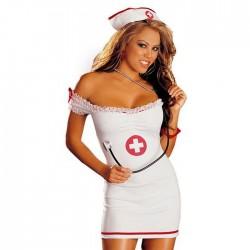Vestido sin tirantes de enfermera sexy Disfraces de enfermera Camisón dama Lencería cosplay