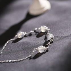 Único Piedra de la luna Rama Hojas de plata pulsera romántica de las mujeres