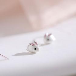 Encantador Blanco Conejo Fresco Mini animal plateado dama Stud Pendientes