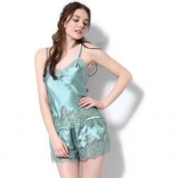 Sexy ahueca hacia fuera las correas de encaje tirantes pijamas de seda