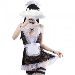 Traje de delantal de sirvienta francesa de encaje sexy traje de lencería de Cosplay con lazo traje de lencería de sirvienta de anime travieso lencería de mujer