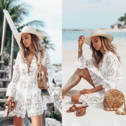 Ocio Encaje Manga larga Protector solar Vestido de verano Falda Playa Vestido hueco