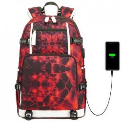 Nueva mochila adolescente de computadora de gran capacidad con estampado de fuego de agua impermeable para la escuela secundaria Mochila para estudiantes