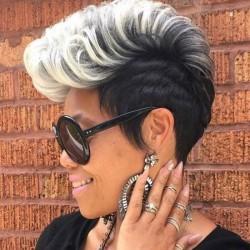 Peluca de pelo de mujer de moda de pelo corto y rizado de color degradado punk