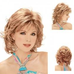 Moda Pelucas de pelo corto y rizado dorado con capucha de pelo de flequillo diagonal de White Lady