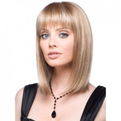 Nueva peluca de pelo de encaje medio largo con flequillo para mujer