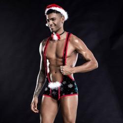 Sexy traje de Navidad siamés mono para hombre Bar discoteca trajes de escenario Cosplay Halter Teddy lencería para hombres