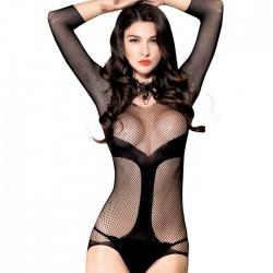 Body para mujer Medias de rejilla de malla hueca Liga de peluche Lencería fina combinada de una pieza