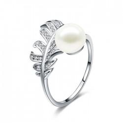 Único Penacho Anillo de niña Anillo de plata abierto con perlas de plumas