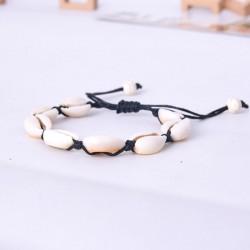 Bonita pulsera de mujer tejida a mano con concha de joyería bohemia