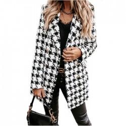 Chaqueta de moda para mujer Otoño Invierno Celosía Estampado de lana Rejilla de solapa Abrigo largo para mujer
