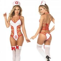 Sexy cosplay enfermera paquete tentación lencería siamesa