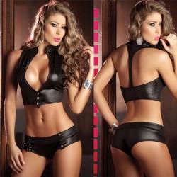 Sexy Lady Escote en V Halter Big Teta Uniforme Tentación Escotado por detrás Bikini sexy Lencería