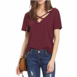 Sexy cuello en V Suelto Vendaje Cruzar Color puro De las mujeres Camiseta