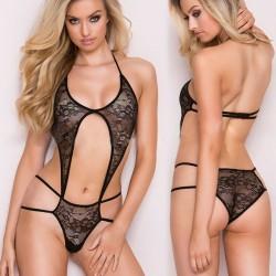 Bikini de una pieza sexy encaje de mujer transparente a través de los apoyos sin respaldo lencería