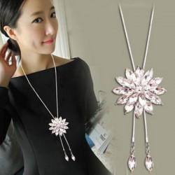 Strass de cristal de mode collier de pendentif fleur stratifié collier de chaîne de chandail