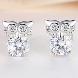 Mode mignonne hibou femmes clignotant cristal diamanté bordé argent animaux boucles d'oreilles