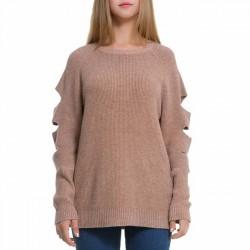 Suéter único puro de color puro con mangas rasgadas de mujer