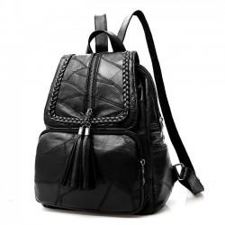 Ocio mochila de cuero negro Mochila grande tejido mochila de la universidad de las mujeres